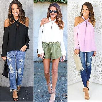 Women Loose Long Sleeve Chiffon Casual Shirt Tops Fashion Off Shoulder
