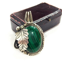 Navajo Gemstone Pendant Necklace, Large Banded Malachite, Leaf Jewelry, Native American Roped Sterling, Ervin Tsosie Jewelry, Vintage