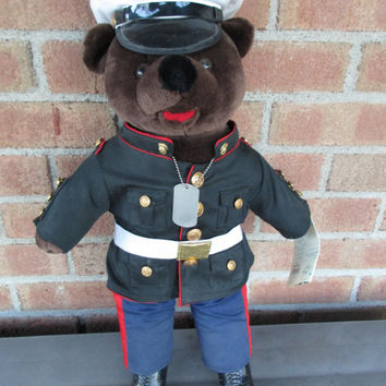 United States Marines Bear Forces Of America Military Teddy Bear Uniform Dress Blue