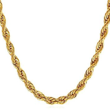 Rope Chain Necklace Thick Stainless Steel
