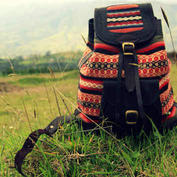 El Volcan. Handmade leather backpack with handwoven wool. Perfect for school, weekend adventures and as a travel day bag.
