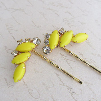 Retro yellow Milk Glass Rhinestone Hair Pin Set,  Hair Jewelry, Bobby Pin, Swarovski Crystal Hair pins
