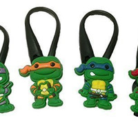 Ninja Turtles Silicone Snap Lock Zipper Pulls 4 Pcs Set #1