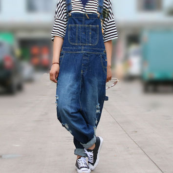2017 new  big size denim overalls jumpsuit women Casual Loose Solid Overalls Retro Strapless Playsuits Oversized  jeans cowboy