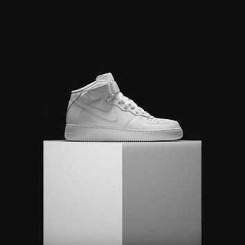 PEAP3 Nike Air Force 1 Mid 07 ( 315123 - 111 ) AF1 All White