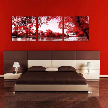 WJJ Red Tree maple river AtFipan 3 Panel Wall Art Canvas Painting Home Decoration Prints Pictures For Living Room Unframed