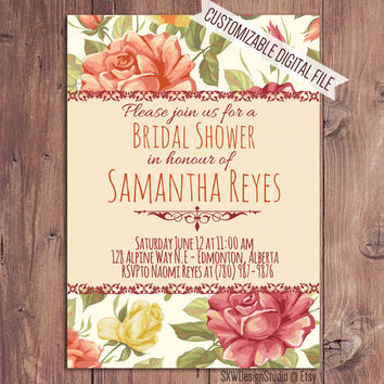 Vintage Flowers Bridal Shower Invitation - Classy Bold Colourful Flower Print Elegant Professional Pretty Fun Cute - Printable DIY (003)