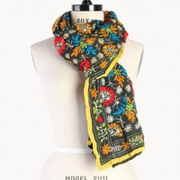 Johnny Was | Green Floral Embroidered Scarf | Women's Scarves | Johnny Was