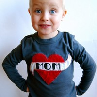 $44.00 I Heart Mom asphalt longsleeved by smallthreads on Etsy