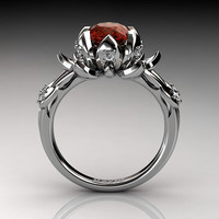 Nature Inspired 14K White Gold 2.0 Carat Oval Orange Sapphire Diamond Lotus Flower Engagement Ring R1013-14KWGDOS