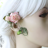 Pink Bouquet Ear Wrap (unique eco-friendly ear jewelry) Halloween - Photo Props - Cosplay - OOAK Fashion Accessory - Weddings