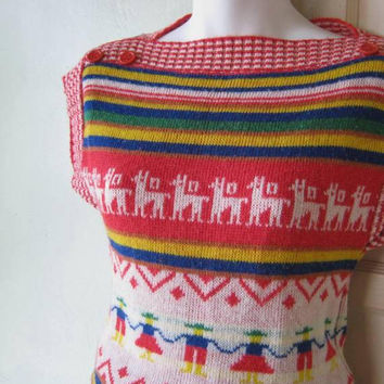 Vintage Reindeer Print Knit Tunic/Pullover Sweater; Small-Medium Folkloric Sweater w/ Cap Sleeves; Free Ship/U.S.