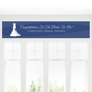 Wedding Dress Blue - Personalized Bridal Shower Banners