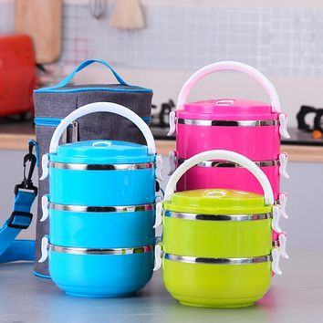 Korean Stainless Steel Bento for Kids Thermal Food Container Lunch Food Box Portable Dinnerware Sets