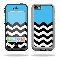 Mightyskins Protective Vinyl Skin Decal Cover for LifeProof iPhone 5C Case fre Case wrap sticker skins Baby Blue Chevron