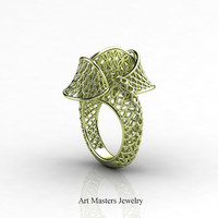 Yerevan - Cathartic Beauty 18K Green Gold Modern Rococo Lace Ring R530-18KGG
