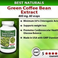 Best Naturals Green Coffee Bean Extract, 400mg per Capsule, 60 Vcaps per Bottle (Contains 800mg in Serving Size of 2 Capsules)