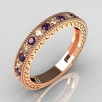 Lovables Luxury Collection 14K Rose Gold .27 ctw Diamond .24 ctw Amethyst Stackable Ring RB72-14KRGDAM