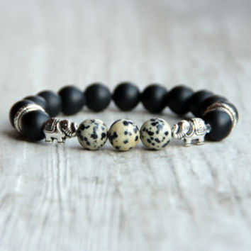 Matte men bracelet Elephant beads Black agate Dalmation jasper Tibetan style Gift for him Husband gift Elephant Jewelry Protection Amulet