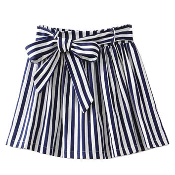 Blue Stripe Mini Skirt with Lace Up Waist Detail
