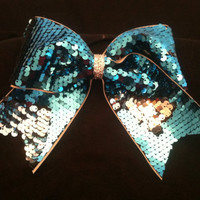 3 reversible sequin cheer bow silver and  by blingitoncheerbows