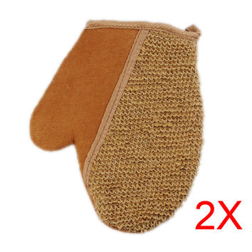 2pcs New Shower Scrubber Back Scrub Exfoliating Body Massage Sponge Bath Flax Gloves