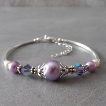 Lavender Pearl Bridesmaid Bracelet Purple Bridesmaid Jewelry Delicate Swarovski Pearl and Crystal Bracelet  Spring Wedding Jewelry Pastel