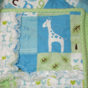 Baby Blanket Boy Rag Quilt  Blue Green White  by KeriQuilts