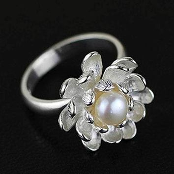 Lotus Fun Authentic Sterling Silver 925 Freshwater Pearl Plant Flower Band Finger Ring