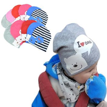 I LOVE MOM/DAD Cartoon Bear Knitted Cotton Beanie Cap Cute Baby Hat Warm Spring Autumn Hats Caps for 0.5-3years old children