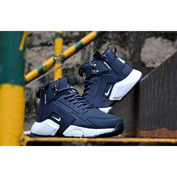 Huarache X Acronym City Mid Leather Navy white Sneaker Shoes  698f770ff