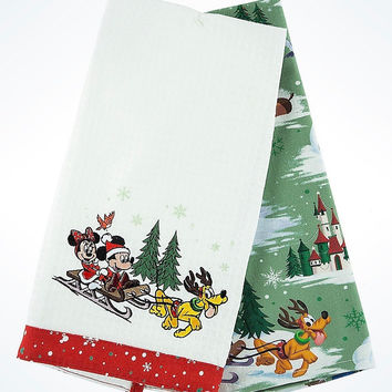 Disney Parks Storybook Mickey & Friends Holiday Dish Towel Set New with Tags