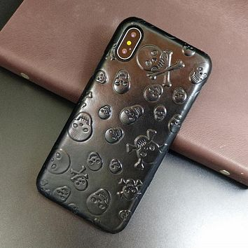 Genuine Leather Case For iPhone X XS Max XR Skull Thin Hard Cover for iPhone 7 8 6 Plus SE 5S 5