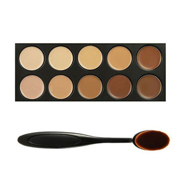 10 Color Face Concealer Foundation Palette Makeup Set & Oval Make up Brush Womens Gift