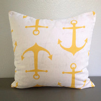 Yellow Anchor Decorative Pillow Home Decor Beach Nautical 18in Cotton Accent Pillow Throw Pillow Toss Envelope Modern Boat Decor Nursery