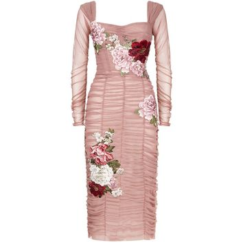 Dolce & Gabbana Ruched Tulle Midi Dress | Harrods.com
