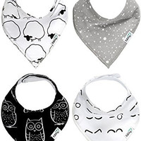 Nikitony Baby Bandana Drool Bibs - Super Soft With Adjustable Snaps - More Absorbent Than Cheap Single Layer Bibs - Cute Unisex Baby Shower Gift Set Of Monochrome Style - 4 Pack