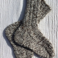 Handknitted Kids Wool Socks, Children - MEDIUM, Brown and Cream Yarn,, Childrens Chunky Hand Knit