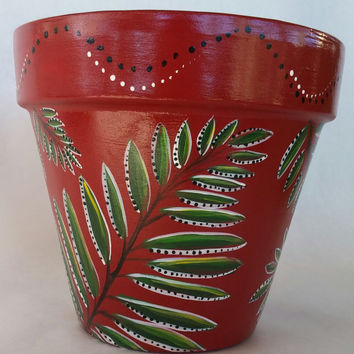 Tropical fern pot, clay pot, tropical foliage, hand painted planter, hand painted pot, painted fern pot, fern pottery, patio fern, planter