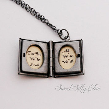 Harry Potter Inspired Book Locket Necklace, Antique Silver Harry Potter Quote Locket, Harry Potter Jewelry