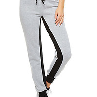 Fleece Drawstring Sweatpants With Inner Seam Contrast Panel