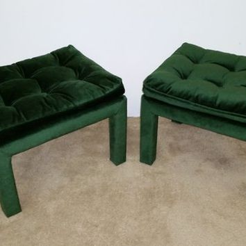 (2) MCM Baughman Upholstered Tufted Ottoman/Stools