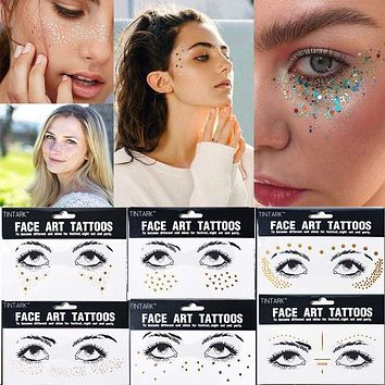 1PC Europe Gold Temporary Face Tattoo