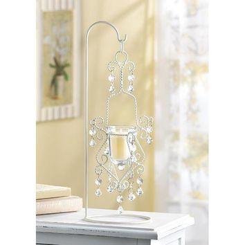 Vintage White Iron Crystal Drop Candle Holder