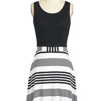 ModCloth Mid-length Sleeveless Twofer Set Your Sights on Style Dress