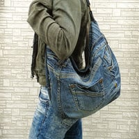Hobo bag slouchy purse handbag recycled upcycled jeans