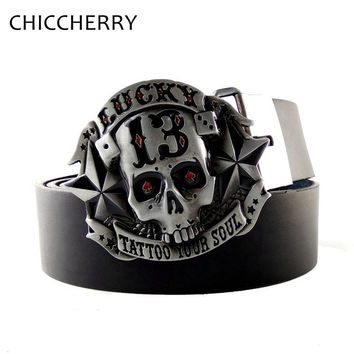 New Fashion Lucky 13 Tattoo Your Soul Skull Belt Buckles Men Metal with Black Pu Leather Belts for Men Jeans Cintos Fivelas