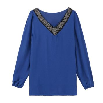 Casual V-Neck Long Sleeve Spliced Chiffon Women's Blouse