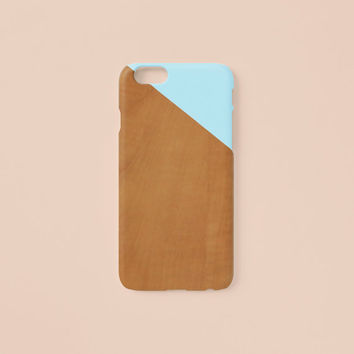 iPhone 6 Case - Pastel blue edge of wood pattern - iPhone 6 Plus case, iPhone 5s case, iPhone 5, w/ Good Luck Gold Sticker, non-glossy L22