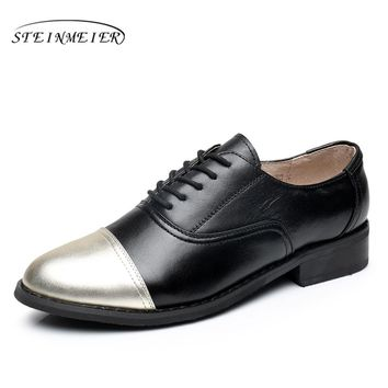 women flats leather big woman US size 11 vintage flat shoes round toe handmade black golden 2017 oxford shoes for women fur
